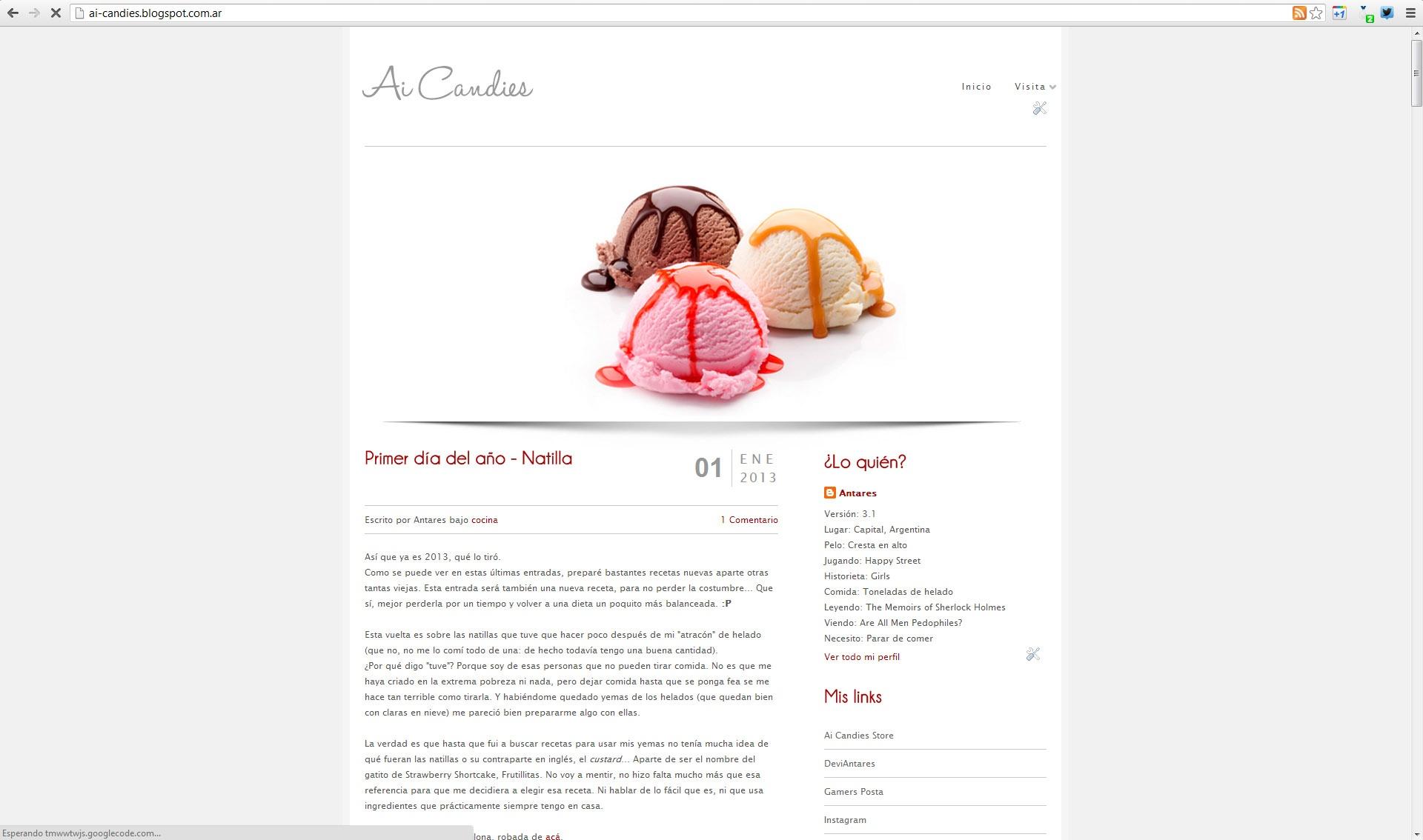 Captura de pantalla del blog de Ai Candies