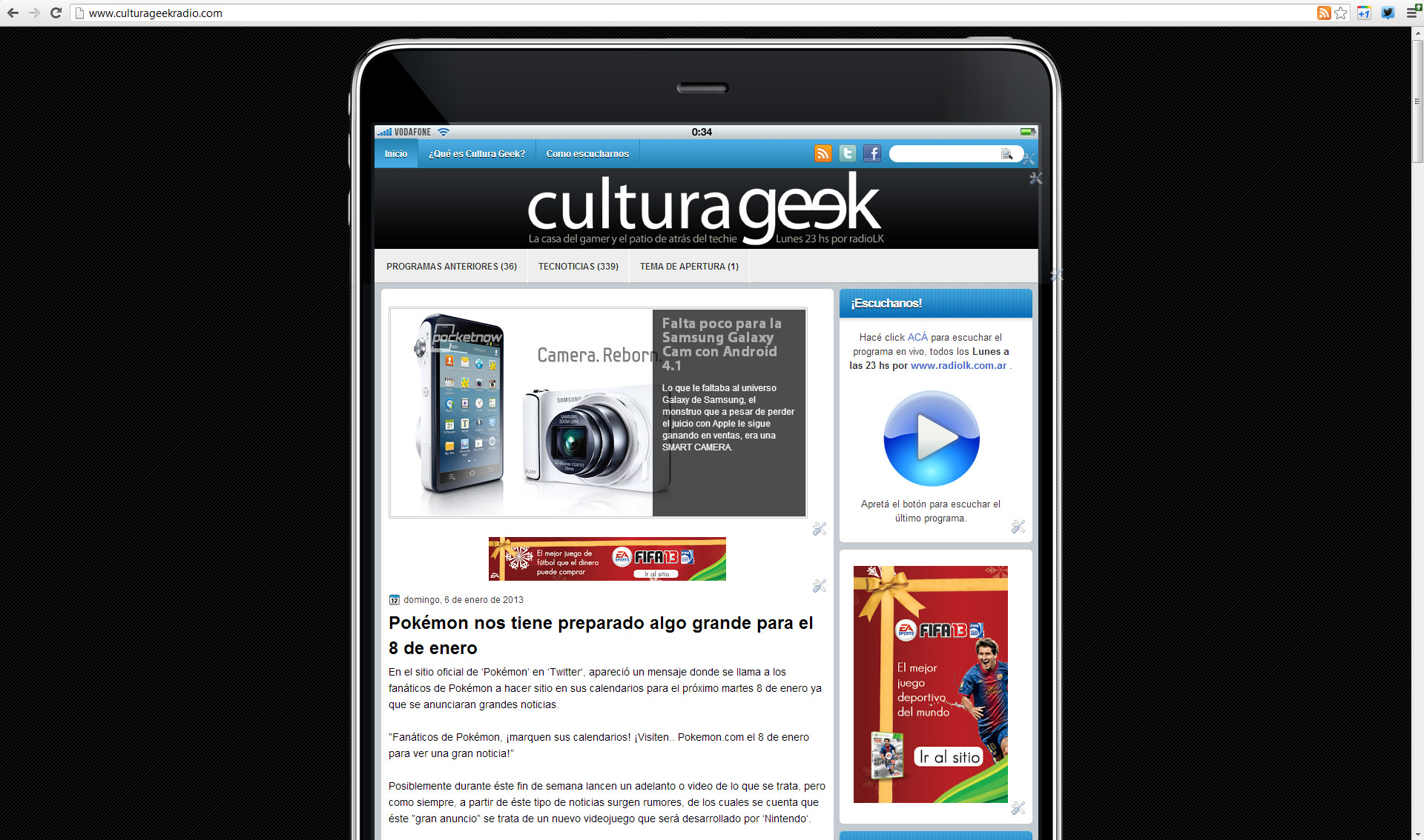 Captura de culturageekradio.com
